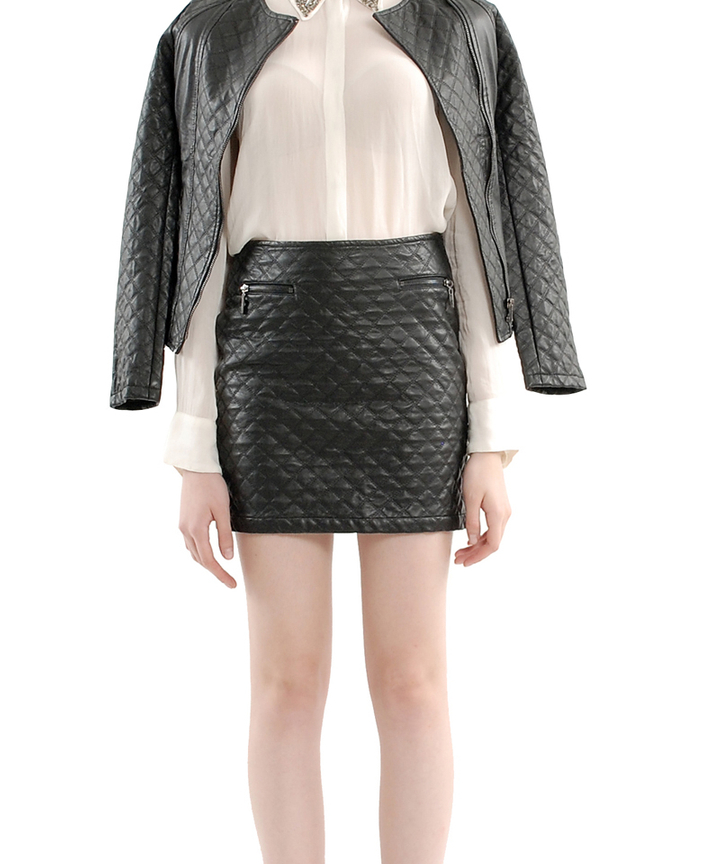 Karl Quilted Leather Skirt