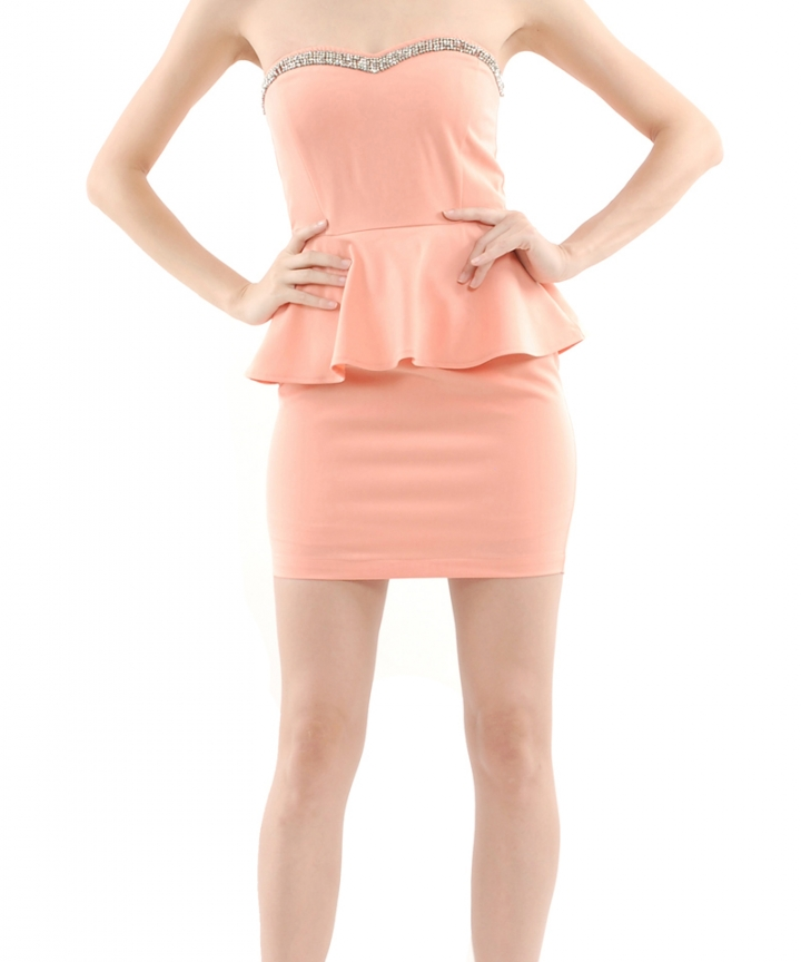 Peaches Beaded Peplum Dress