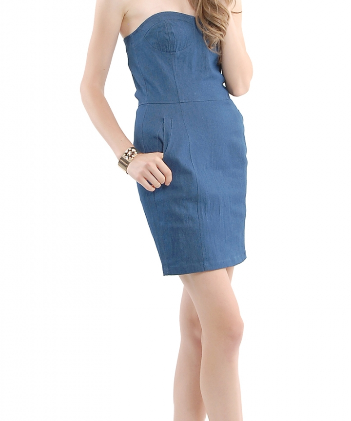 Chambray Denim Bustier Dress