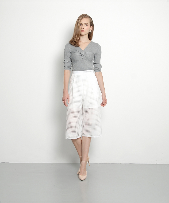 Turlington Checkered Culottes (White)