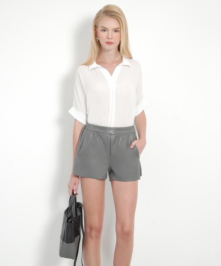 Ferngully Pleather Shorts - Grey