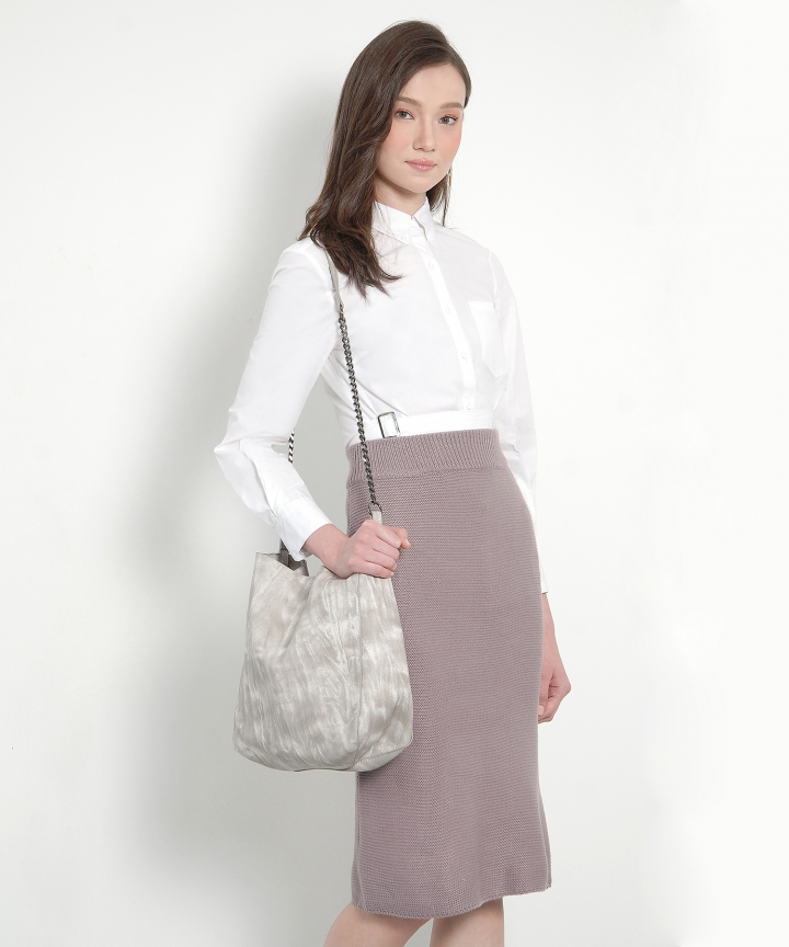 Francoise Knit Midi Skirt - Dust Lavender