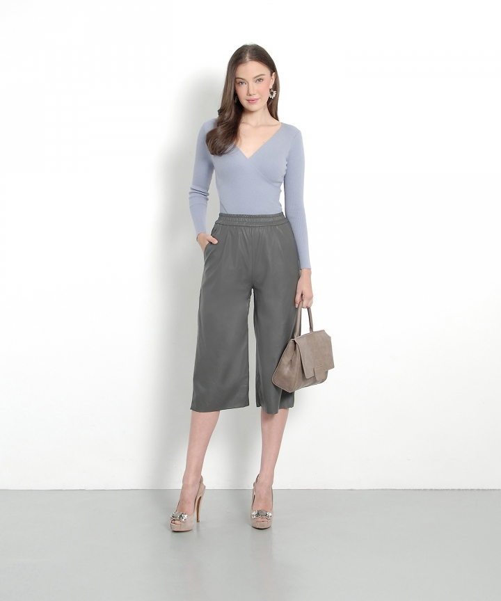 Crew Leather Culottes - Grey