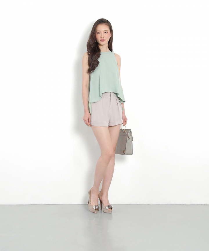 Ferngully Waterfall Top - Pale Jade
