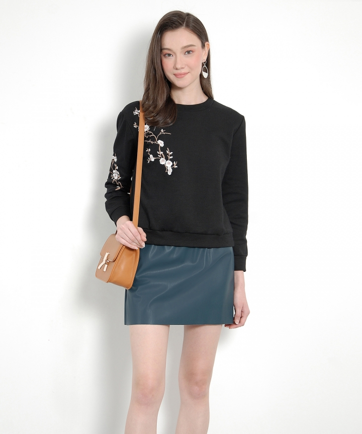 Luna Pleather Paperbag Skirt - Teal