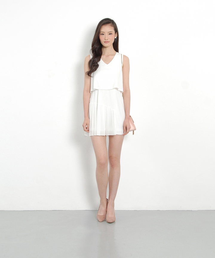 Tatler Pleat Dress - White