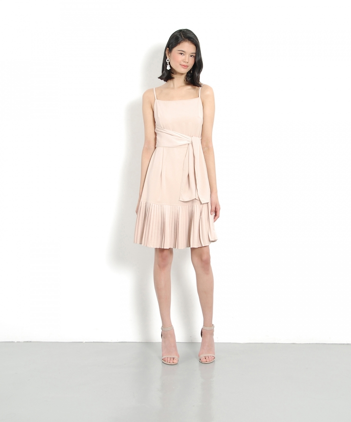 Lorelei Pleated Dress - Nude