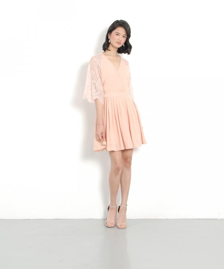 Emmeline Kimono Wrap Dress - Pale Blush
