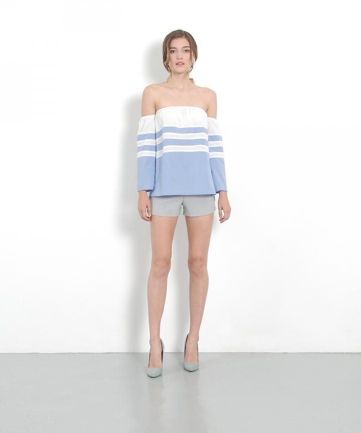 Veranda Belted Shorts - Textured Grey