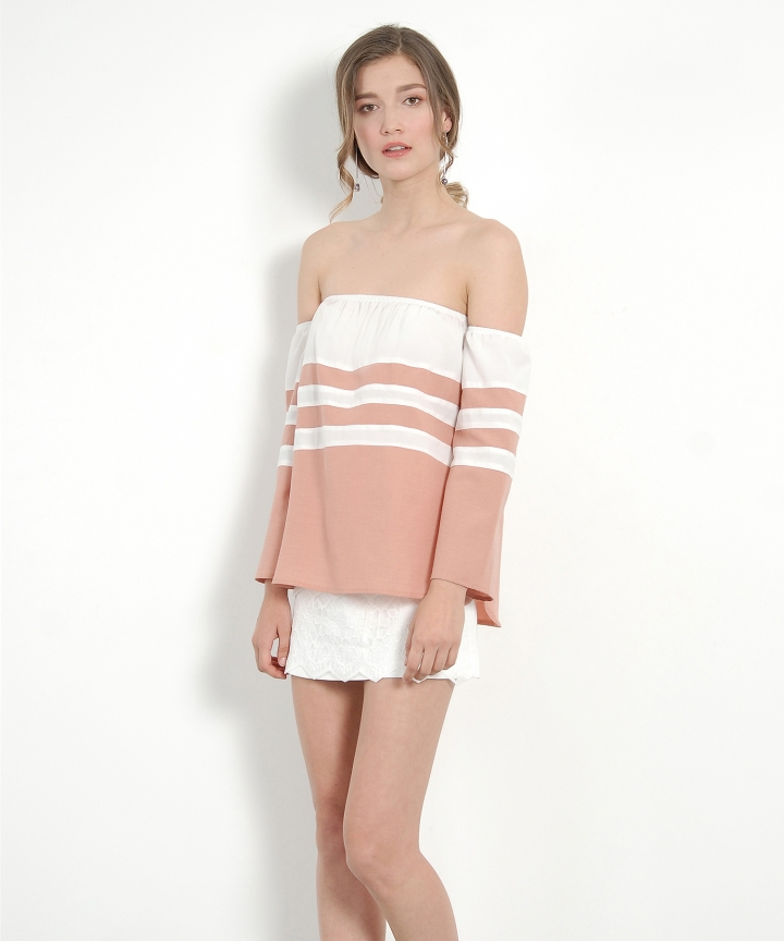 Bonzai Off-Shoulder Blouse - Apricot Blush