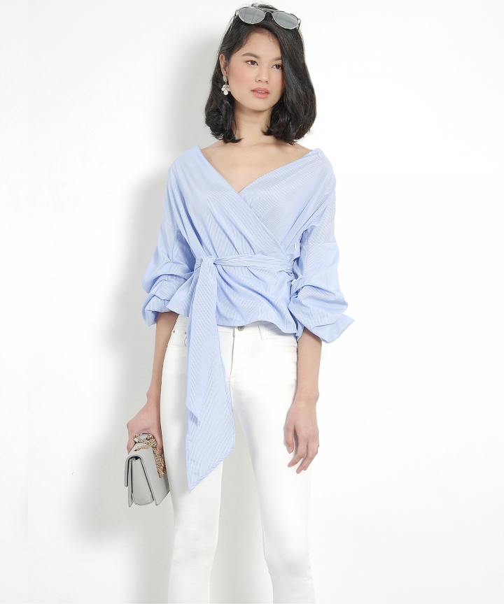 Odessa Ruched Top - Blue (Restock)