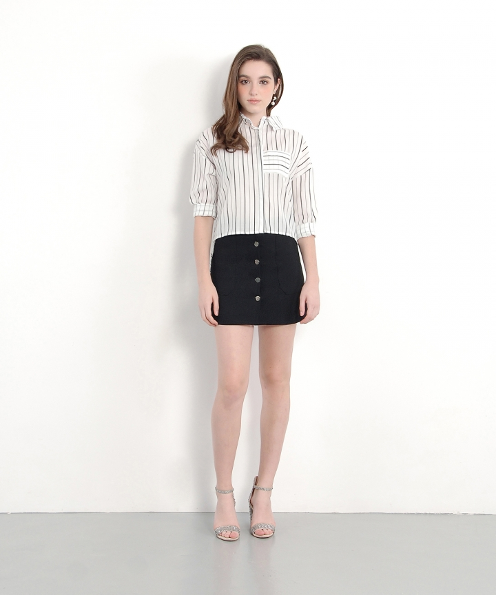 Maple Button-Down Skirt - Black