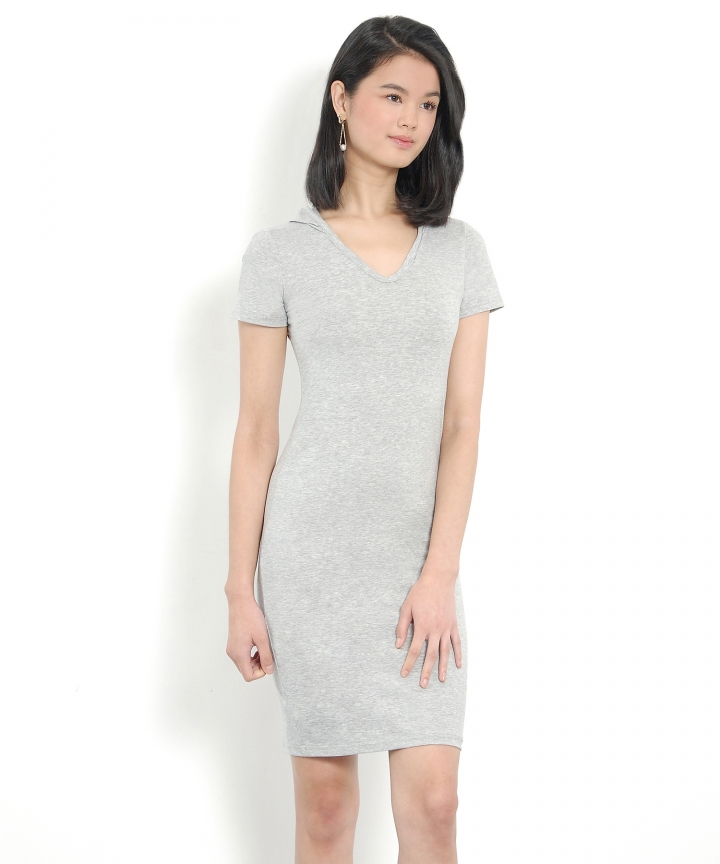 Calvin Hoodie Tee Dress - Light Grey