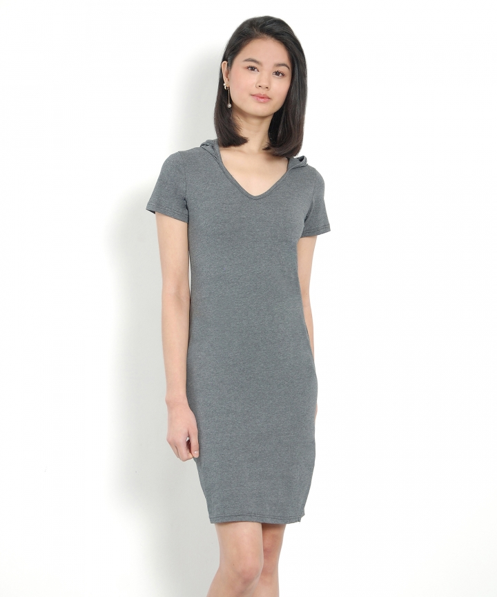 Calvin Hoodie Tee Dress - Dark Grey