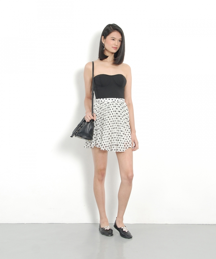Polka Pleat Skirt - White