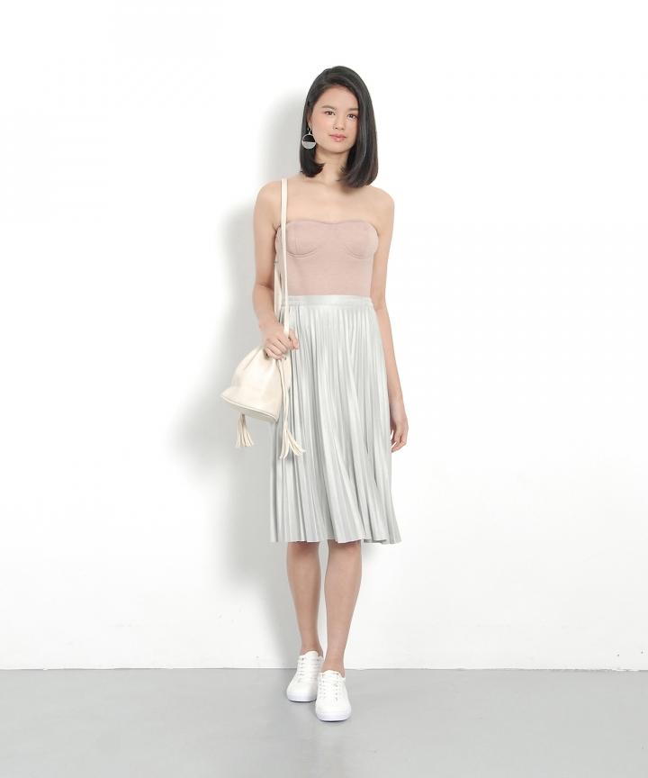 Nevada Suede Midi Skirt - Pale Grey (Restock)