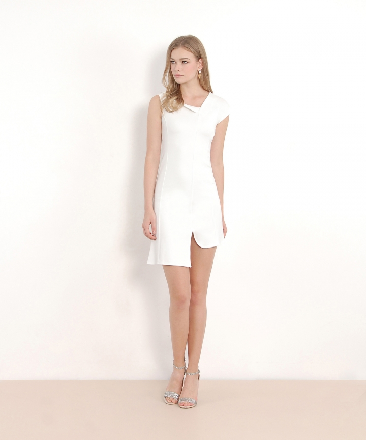 Melena Asymmetrical Dress - White