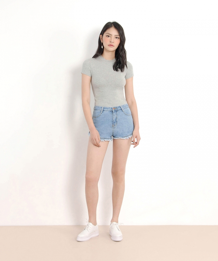 Riley Denim Shorts - Pale Blue