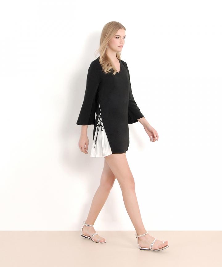 Labyrinth Pleat Dress - Black