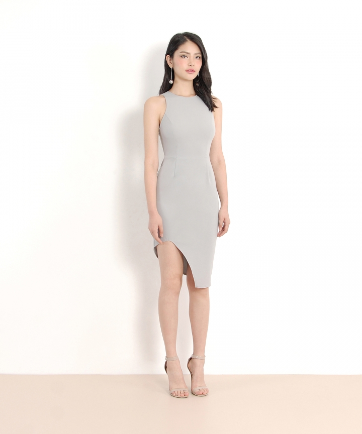 Floré Asymmetrical Dress - Pale Grey