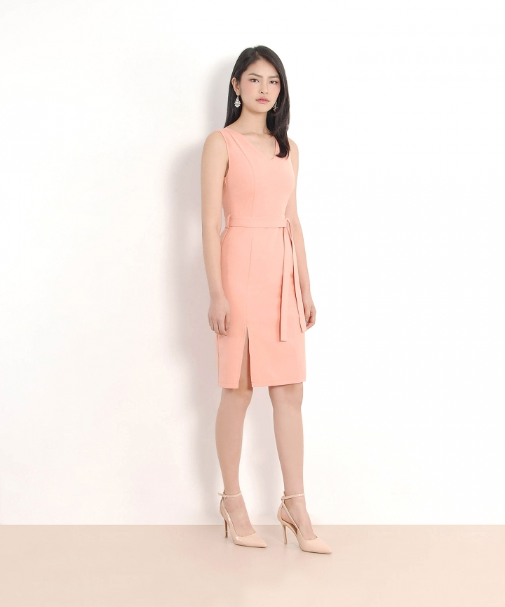 Dolce Belted Corporate Dress - Peach Pink