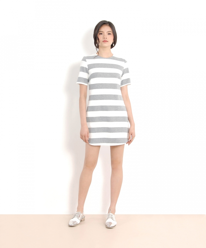 Blake Striped Tee Dress - Pale Grey