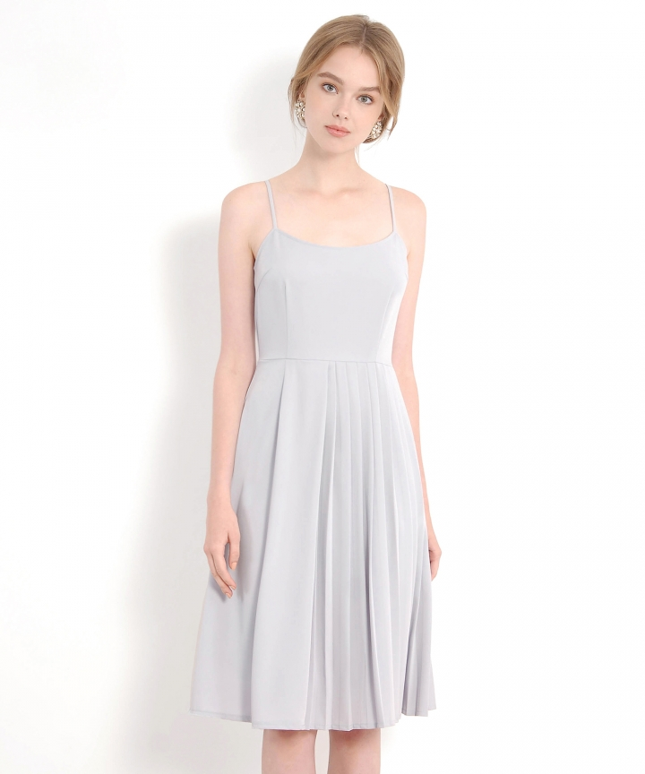 Isobel Pleated Midi Dress - Pale Grey