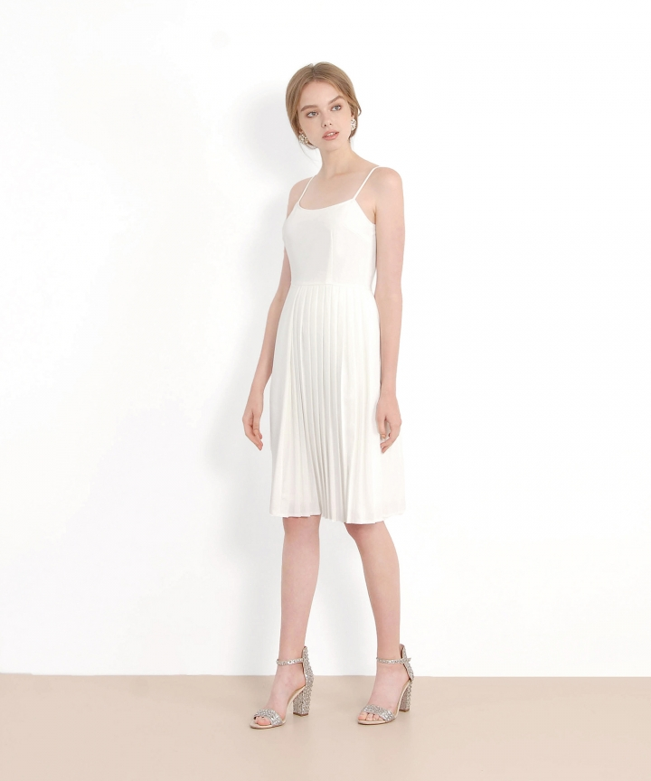Isobel Pleated Midi Dress - White