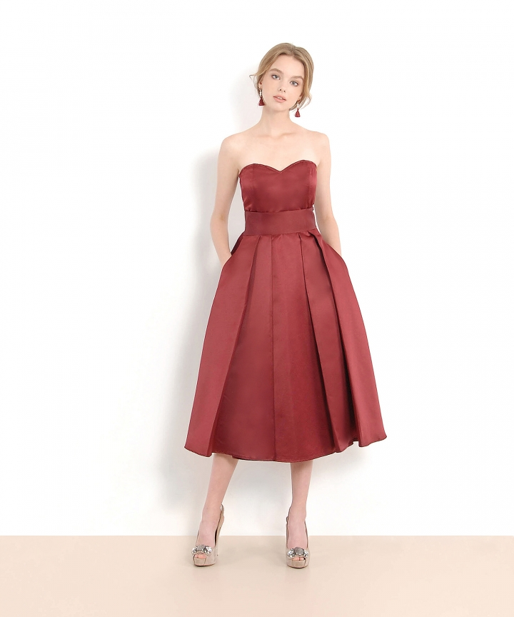 HVV Atelier Victoria Bustier Dress - Burgundy