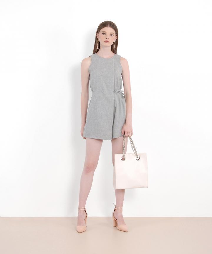 Slate Textured Playsuit - Grey