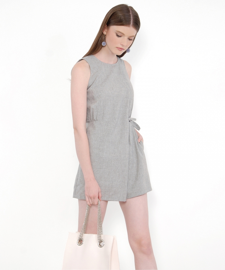 Slate Textured Playsuit - Grey
