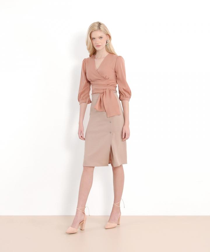 Alistair Midi Skirt - Beige