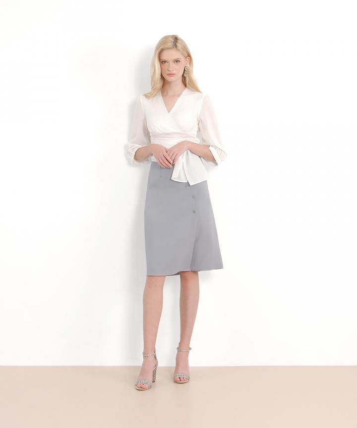 Alistair Midi Skirt - Blue Grey