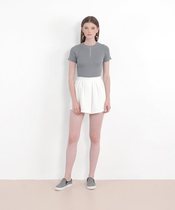 Locale Zip Knit Top - Grey