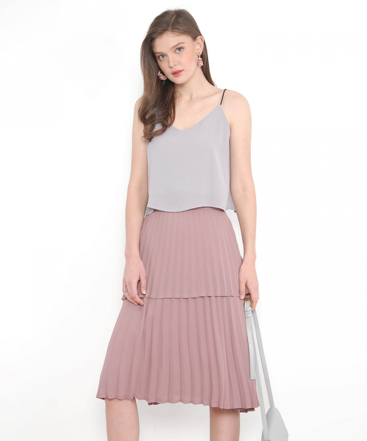 Belle Tiered Pleated Skirt - Mauve