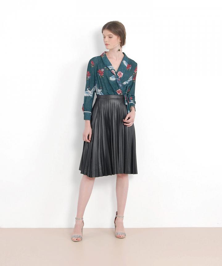 Juno Pleather Pleat Skirt - Black