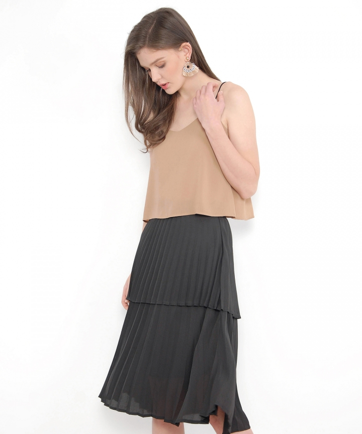 Belle Tiered Pleated Skirt - Black