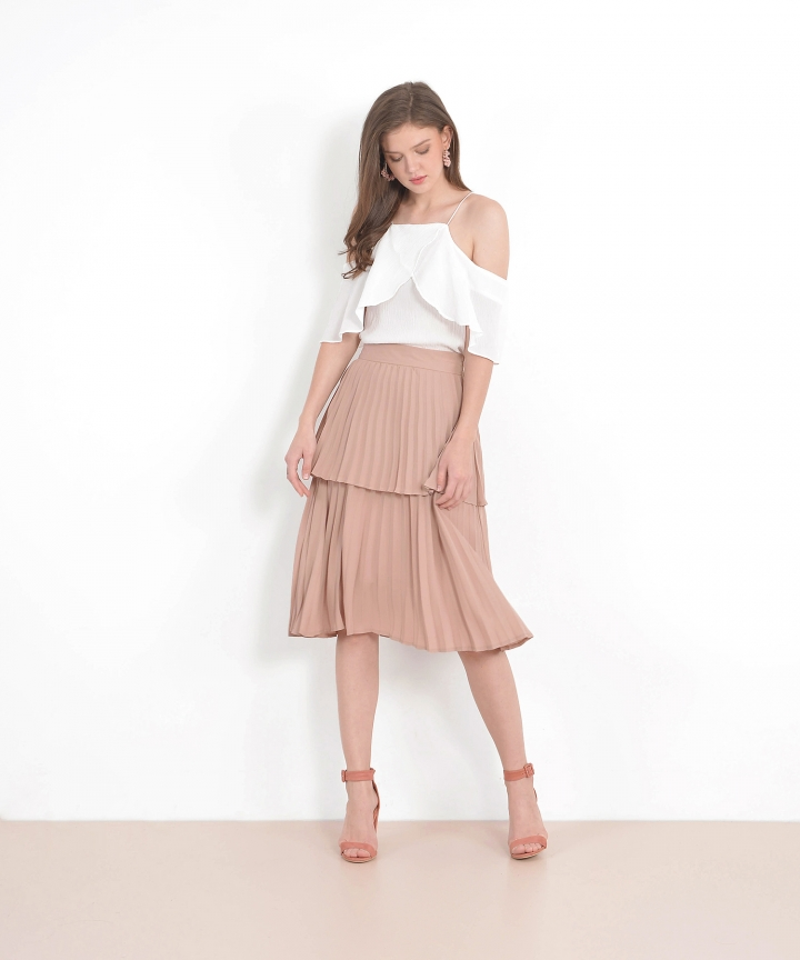 Belle Tiered Pleated Skirt - Dust Nude