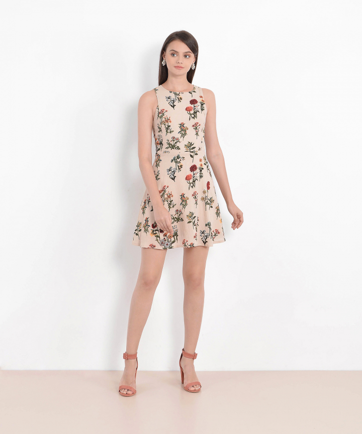Mireille Floral Dress - Nude