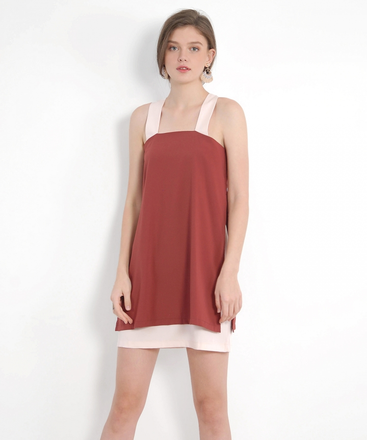 Valley Contrast Dress - Redwood
