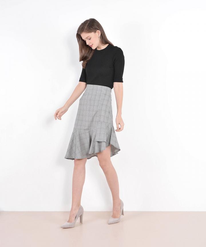 Finn Asymmetrical Checkered Skirt (Restock)