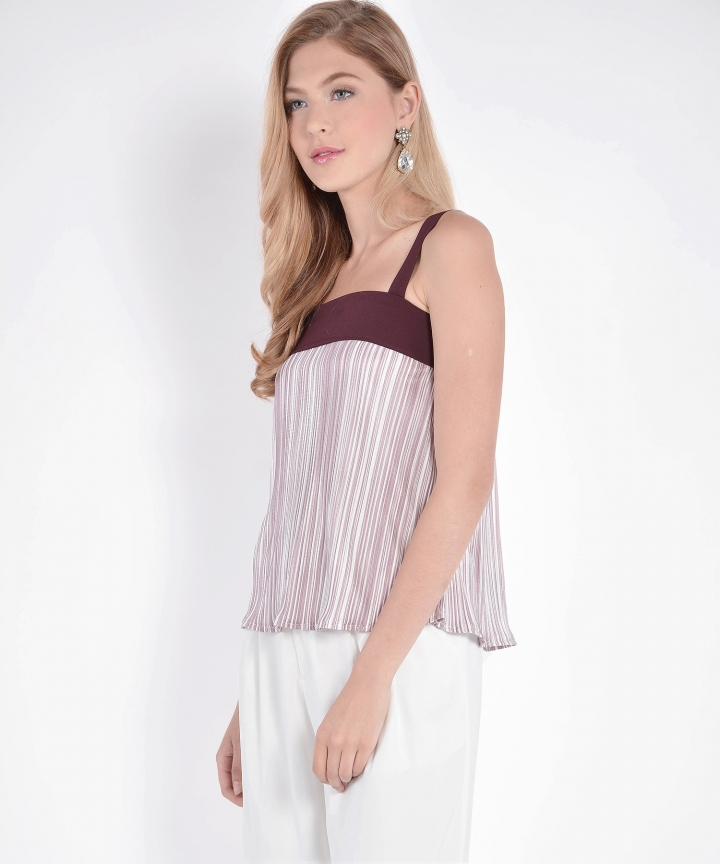 Melody Pleated Top - Burgundy