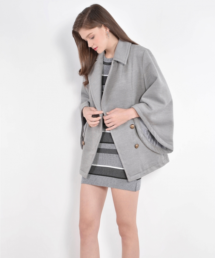 Monarch Bell-Sleeved Coat - Grey