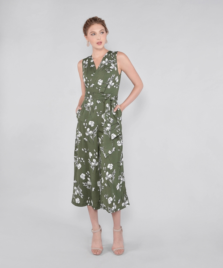 Rosamund Floral Wrap Jumpsuit - Green (Restock)