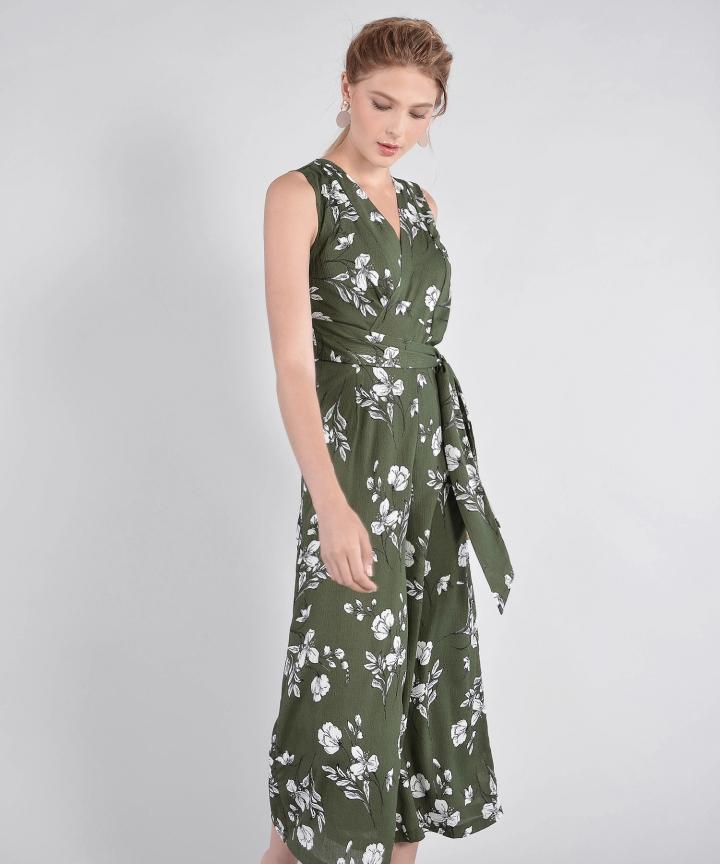 9fc02f35097 Rosamund Floral Wrap Jumpsuit - Green (Restock)