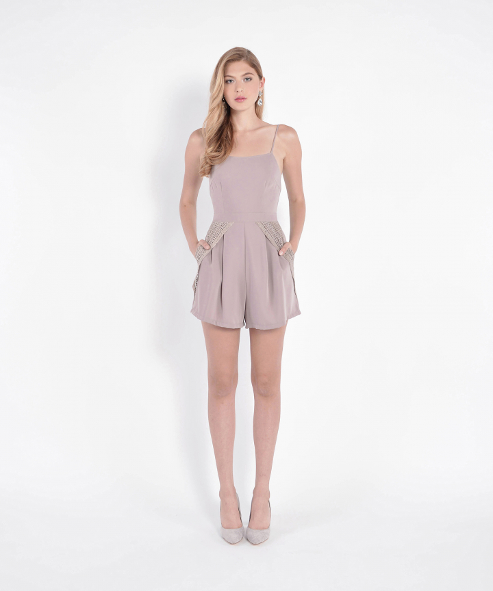 Montage Eyelet Accented Playsuit - Pale Mauve