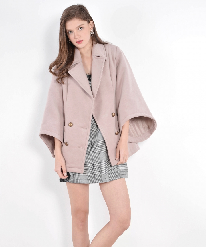 Monarch Bell-Sleeved Coat - Dust Pink
