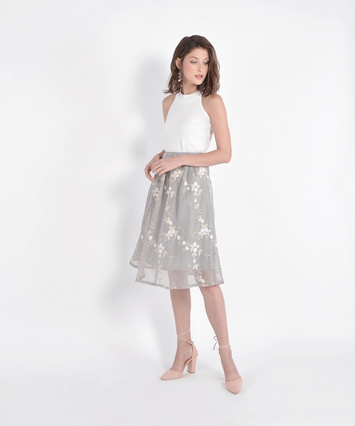 Eve Mesh Floral Skirt - Pale Grey