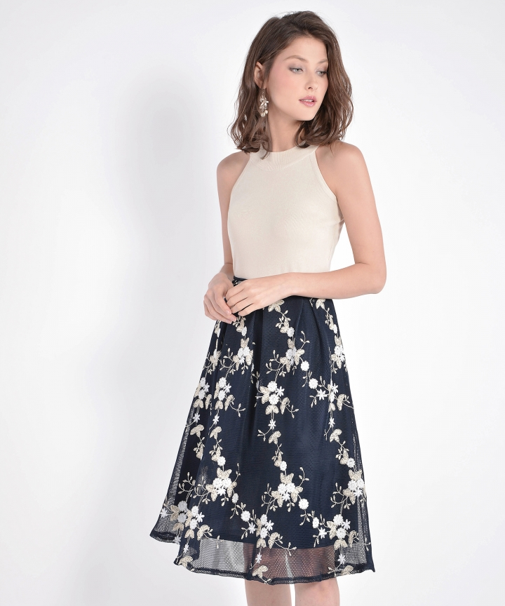 Eve Mesh Floral Skirt - Navy