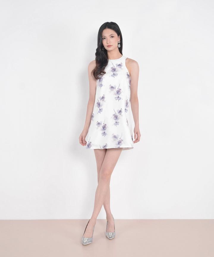 Cherie Floral Organza Shift Dress - Wisteria